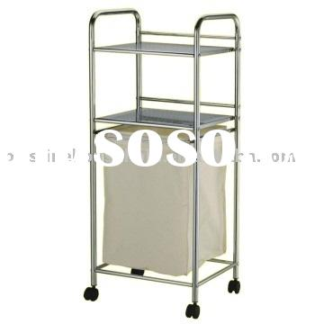 Storage Laundry Basket With 2 Metal Shelves