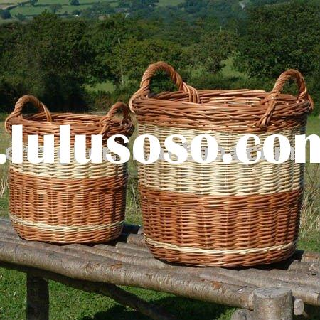 large wicker laundry basket  woven round basket