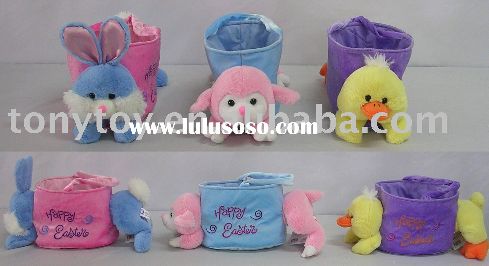 Plush Easter basket,stuffed basket,plush basket,soft basket,plush rabbit,stuffed sheep,toy duck,plus