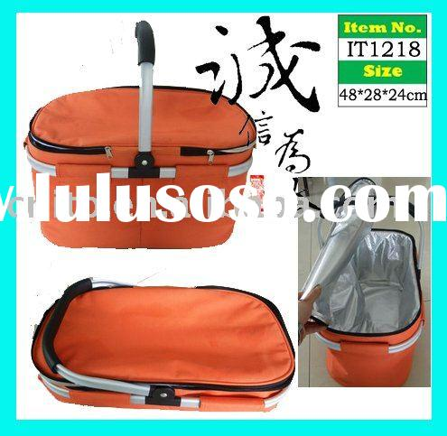 Universal Foldable Insulated Cooler Picnic Tote Hamper Shopping Basket with Thermal Insert