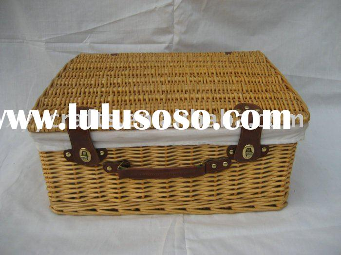 wicker picnic basket with leather handle