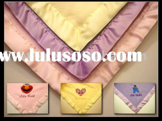 100%polyester embroidered polar fleece baby blanket
