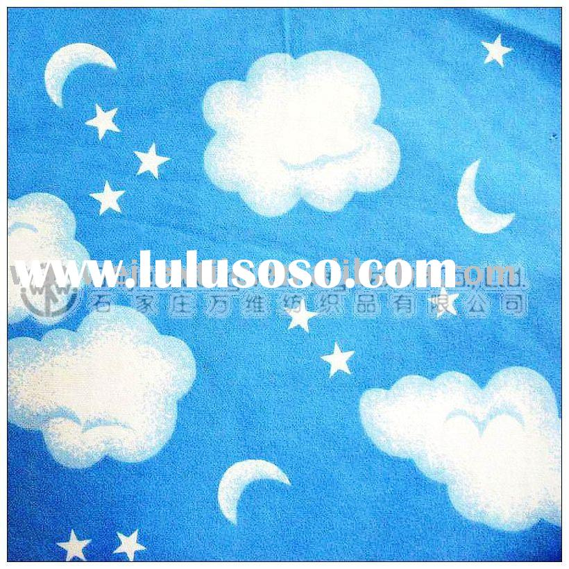 Blue Cotton Printed Flannel Fabric for Blanket/Baby Nightwear