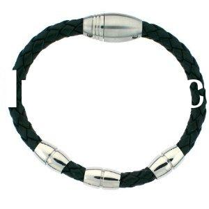 Men's leather bracelets Black Woven with Stainless Steel Magnetic Polished Links 8 3/4""