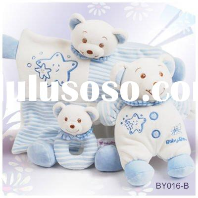 Plush baby toy gift set--Rattle, bear, security blanket