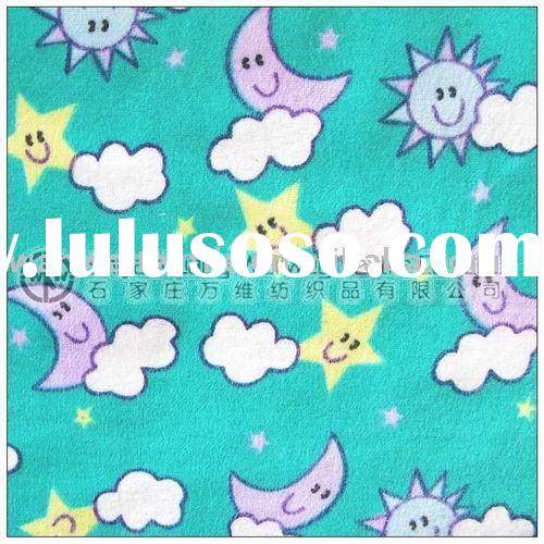 sweat cartoon printed flannel cotton fabric for baby blanket