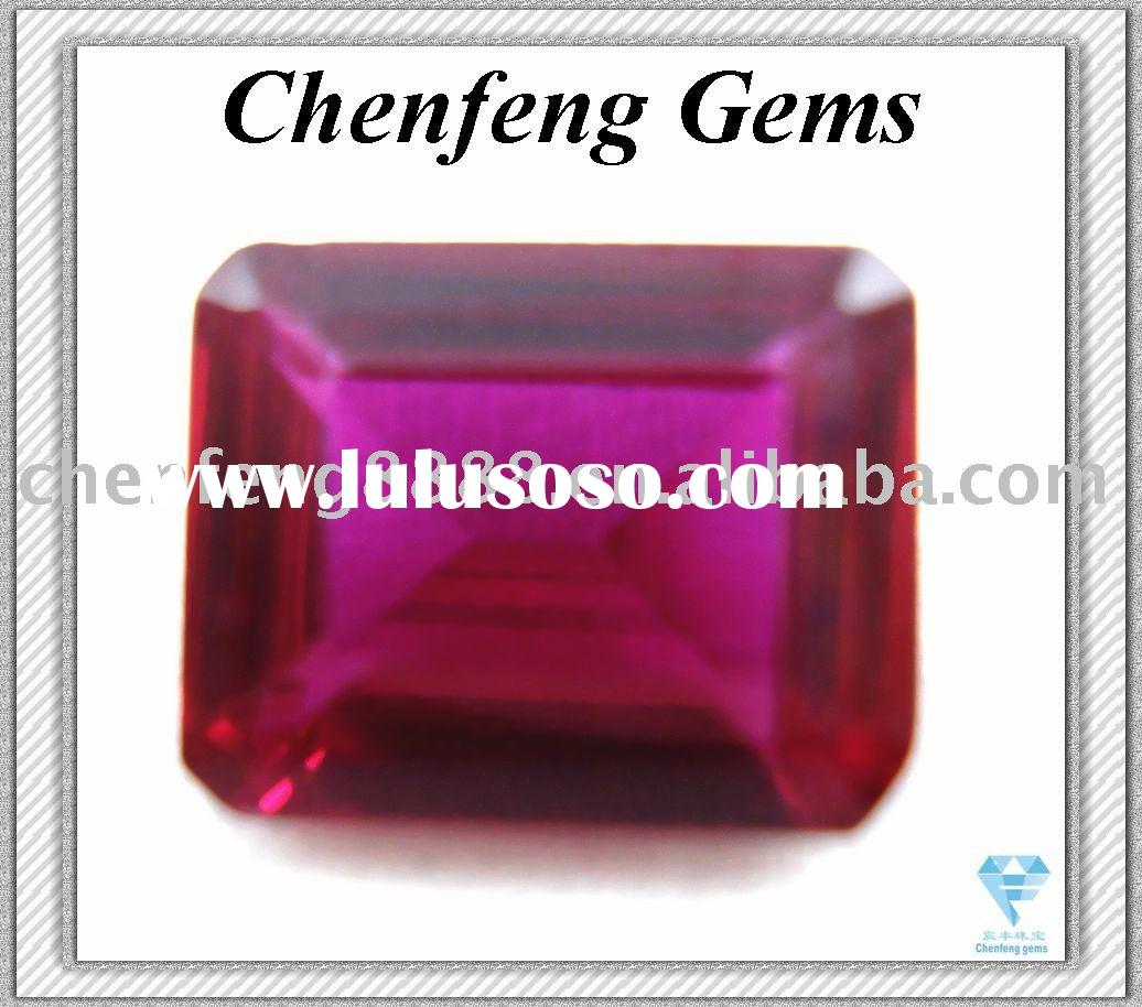 Emerald  cut synthetic  ruby