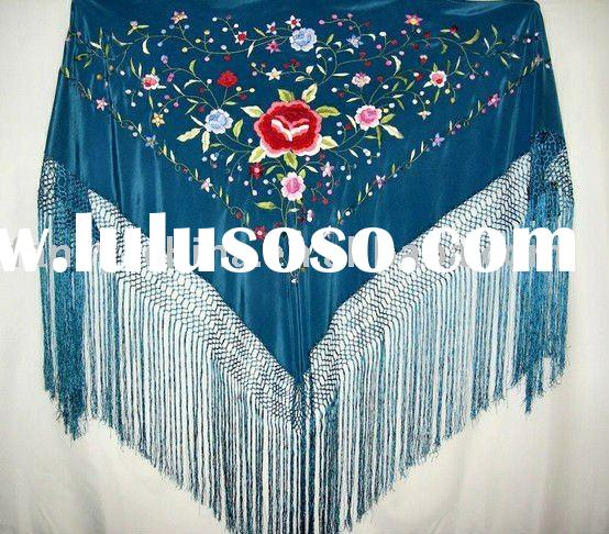 High quality 100% silk embroidery scarf shawl