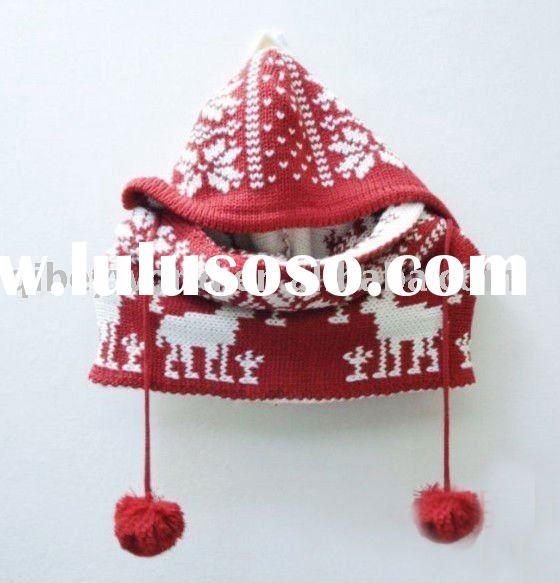 fashion knitting pattern hat with neck warmer deer pattern
