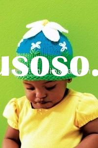 free knitting pattern hat with daisy and flowers for baby/children