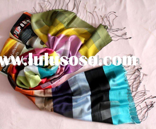 silk shawl with jacquard craft, OEM and ODM are welcome