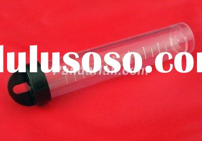 Clear Plastic Tube With A Black Lid, 2cm in diameter, 10.5cm high(C045Y)