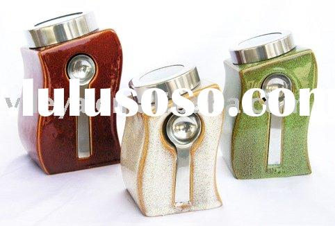Ceramic Canister Set with Measuring Spoon(Storage Jar,Ceramic Container)