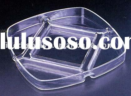 Clear Acrylic Elegant Serving Tray with 5 Compartments(FD-C-005)