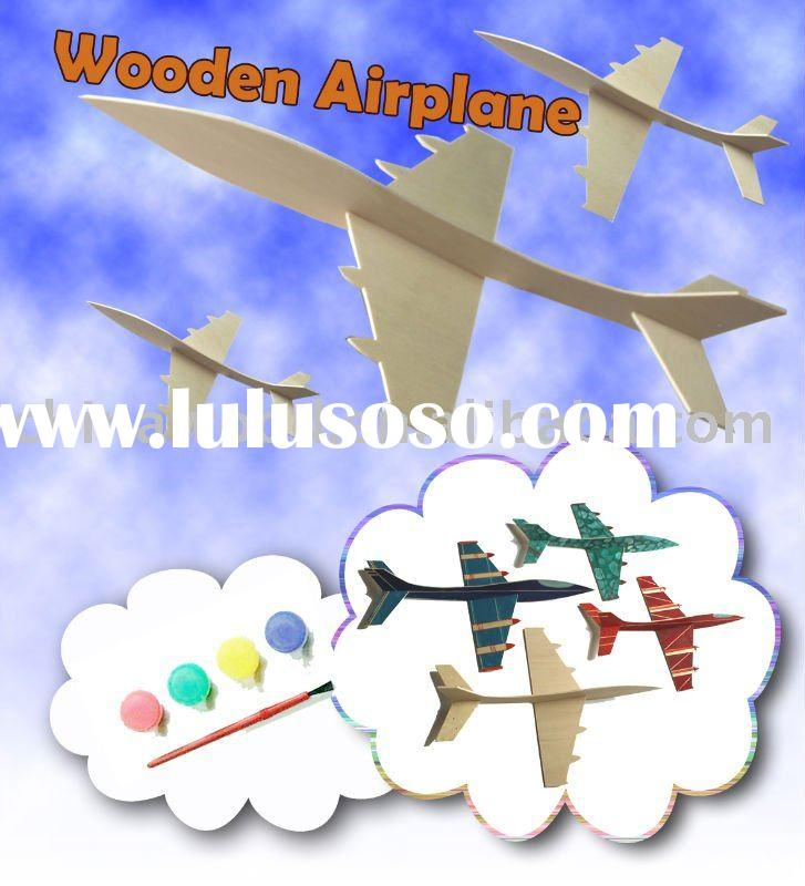 DIY Craft Wooden Model Airplane with Acrylic Paint