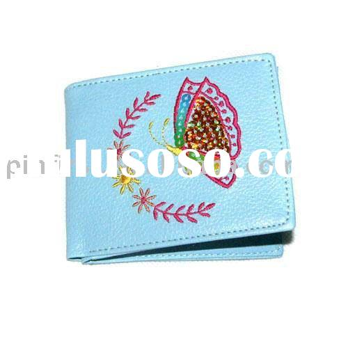 New Ladies PU Leather Bifold Wallets Embroidery