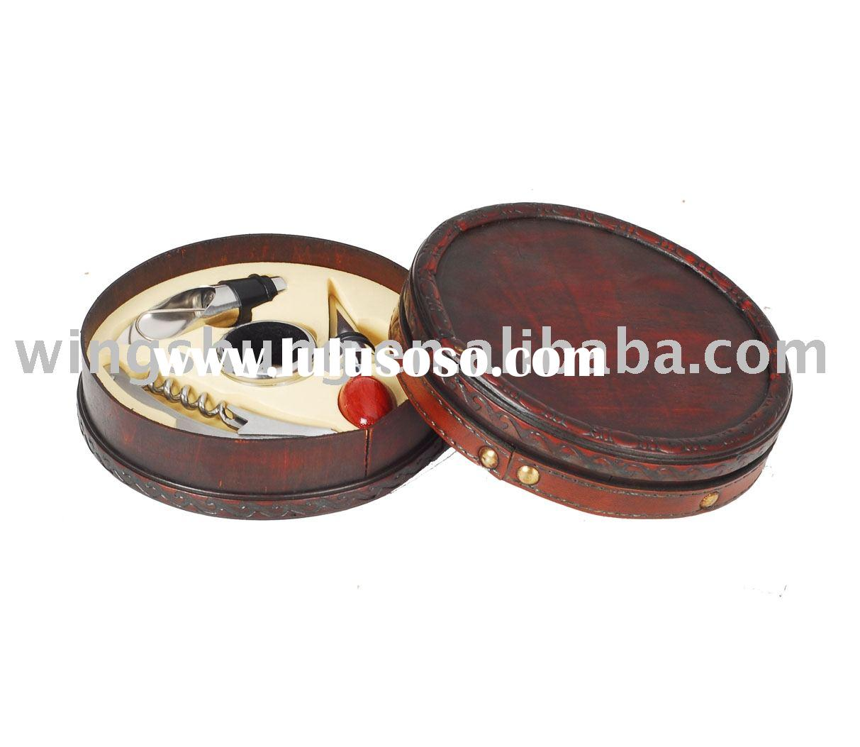 Wine accessories with antique wooden box