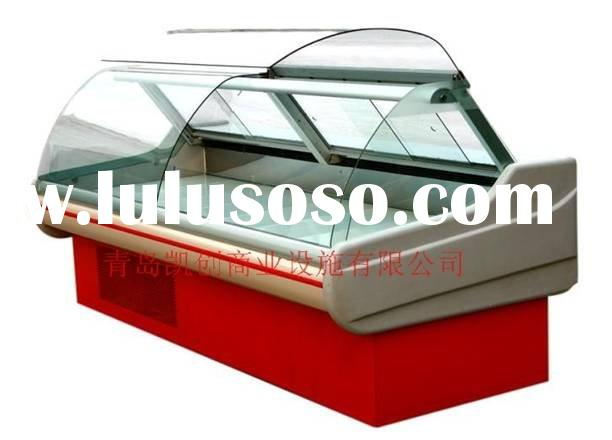 self serve display fridge/curved glass cooked food counter with a self serve front