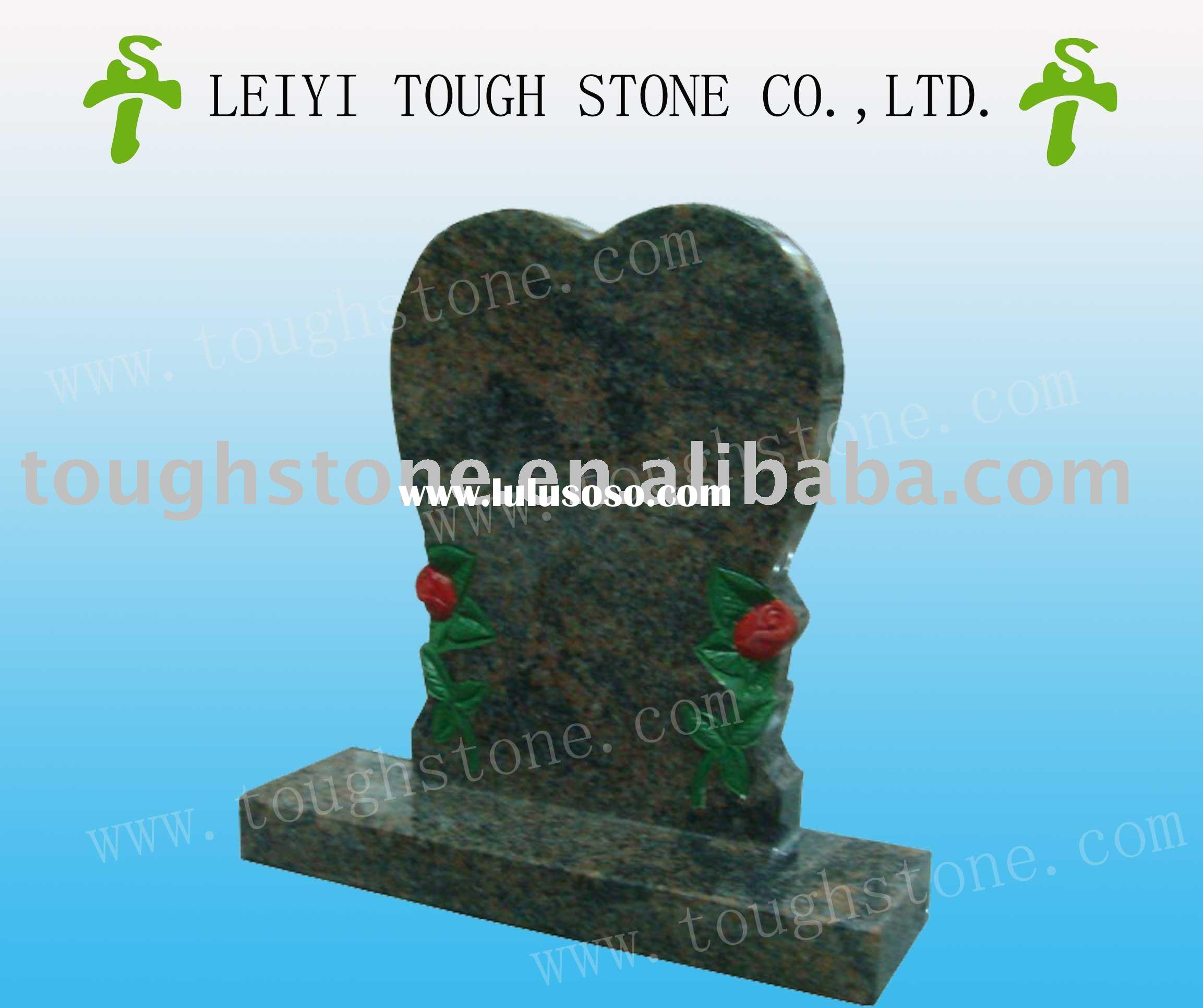 pink granite heart-shaped custom cemetery tombstone headstone monument