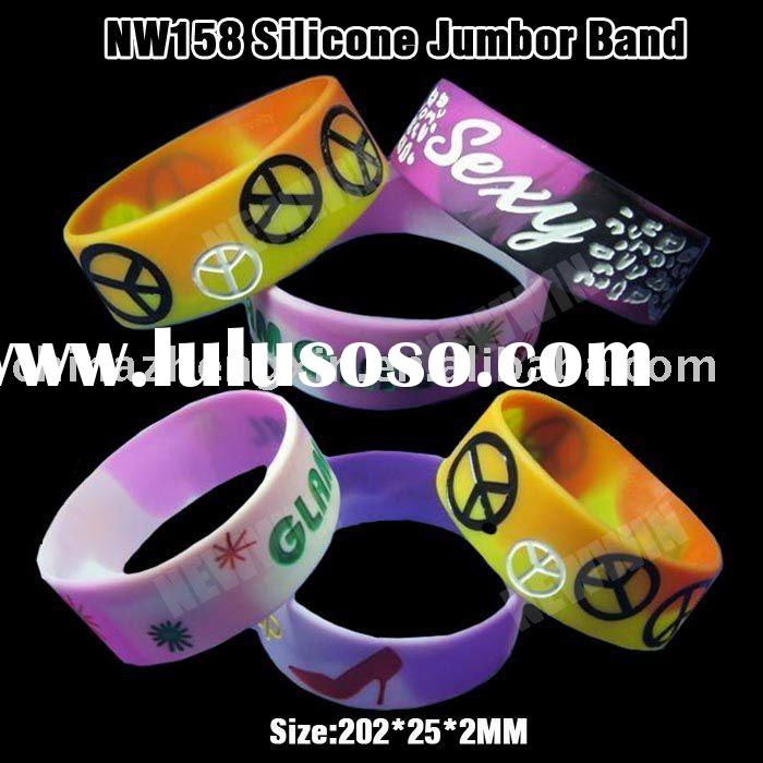 1 inch wide tie-dye silicone bracelet with debossed logo