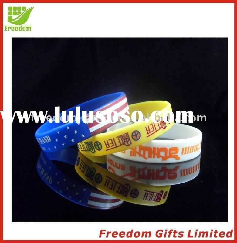 2011 Most Welcomed Customized Logo Printed Silicone Wristband,Silicone Bracelet,Embossed Silicone Wr