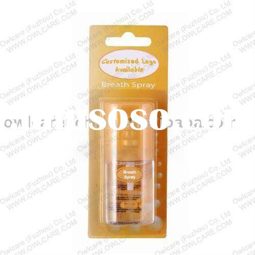 Orange Mouth Spray Breath Freshener Oral Spray in Aluminum bottle