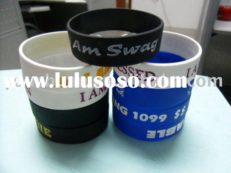 custom silk-screen printing silicone wristband/silicone bracelet