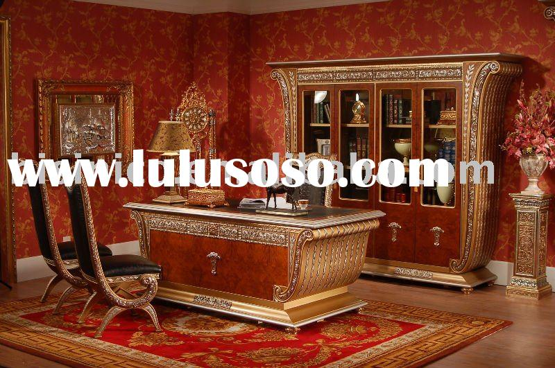 Luxury & classical wooden home office furniture, office table, bookcase,hand carved,MOQ:1SET(B23