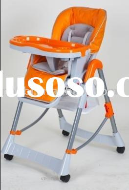 LHB-009 chaildren feeding high chair in orange with cushion