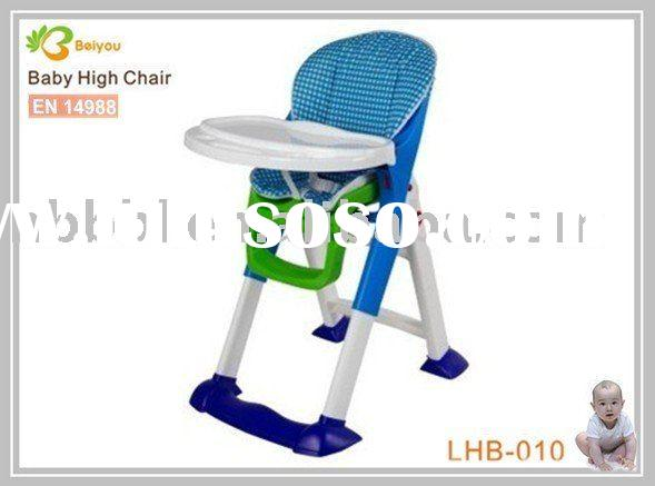Plastic baby high chair with big tray and cushion