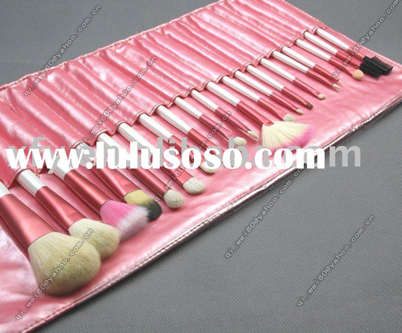 20 PCS MAKEUP ARTIST BRUSH SET ROLLUP BAG - PRETTY PINK