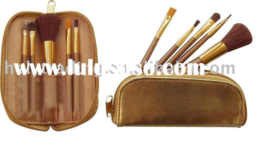 5pcs golden brush set with golden zipper bag/professional makeup brush/travel makeup brush set