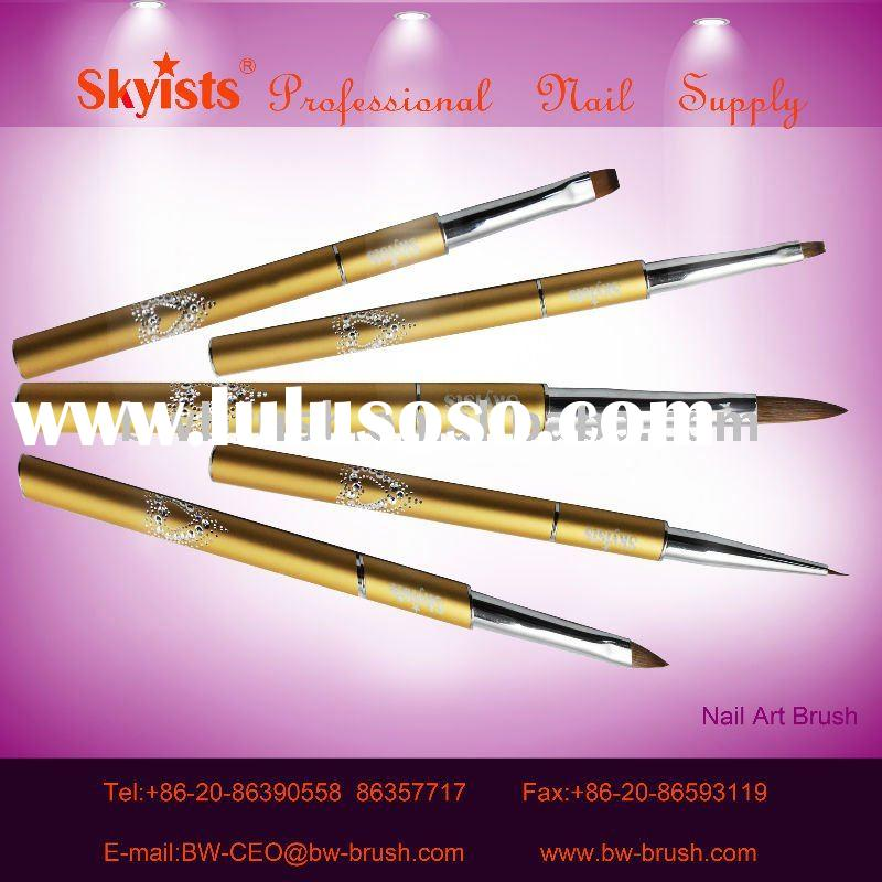 golden diamond aluminum kolinsky nail art brush set nail pen whloesale