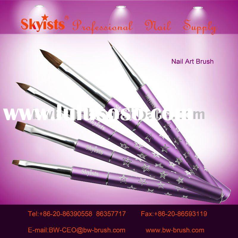 purple glitter aluminum kolinsky nail brush set