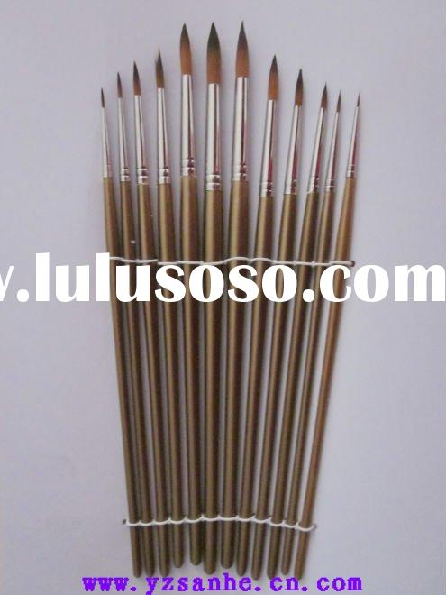 round head12 pieces nylon artist paint brush