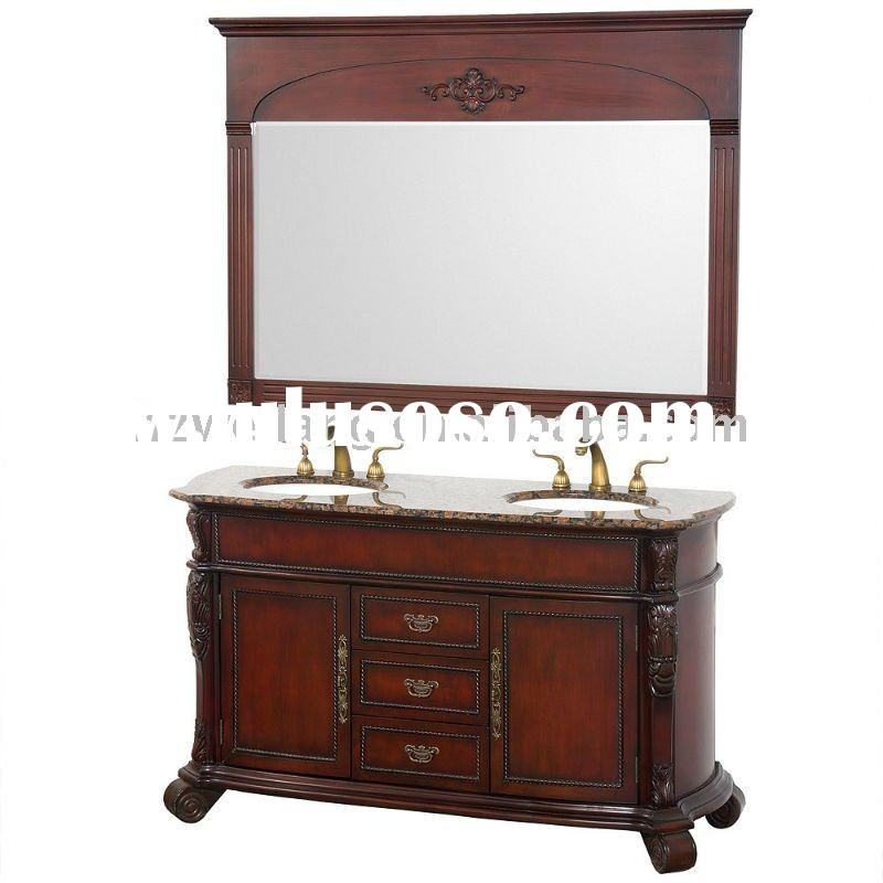 59 1/2'' Antique cherry double sink Solid Wood Bathroom Furniture(mb-333)