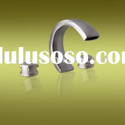 Brushed nickel finish waterfall bathtub/basin faucet,Lavatory faucet,Brass bathroom fittings & a