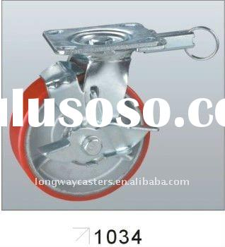 Caster with PU mold on cast iron wheel, double ball bearing