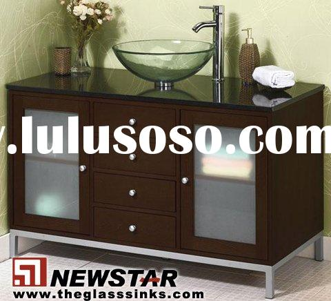 Cheap glass bathroom sink and vanity top and  cabinet