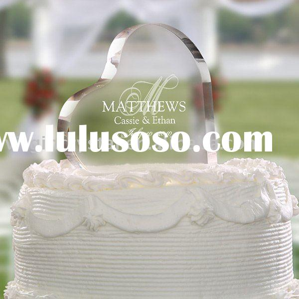 Personalized Acrylic/Crystal Heart Cake Topper