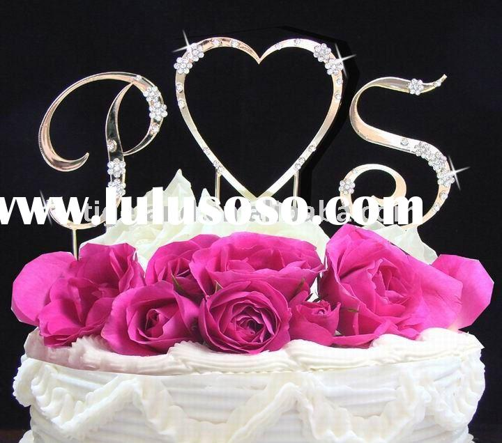 crystals Monogram Wedding cake topper
