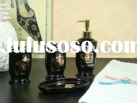 set of 4 ceramic bathroom accessory in black and golden decal