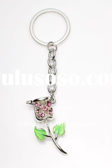 2011 new fashion alloy rose keychain with crystal