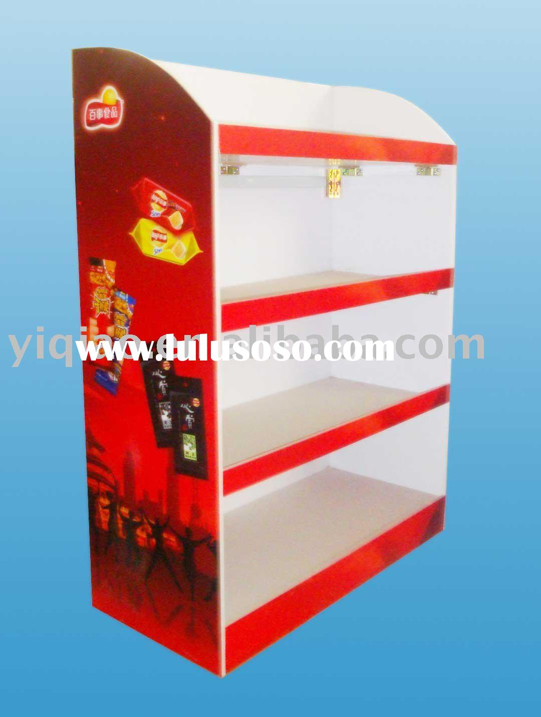 High quality and good price MDF wood display stand with 4 floors