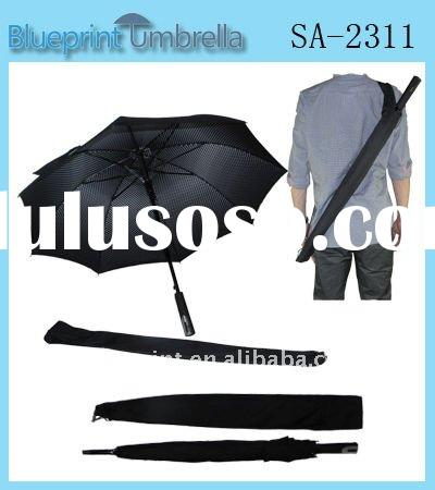 Carrying Belt Straight Aluminum Umbrella,Double Layer Stick Umbrella,High Quality Fashion Double Lay