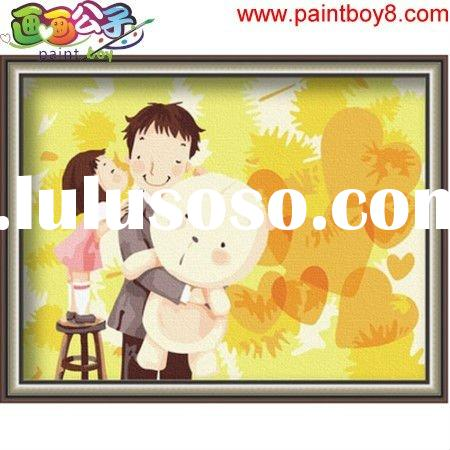 Father and daugther - diy oil painting by numbers, Diy oil painting by numbers