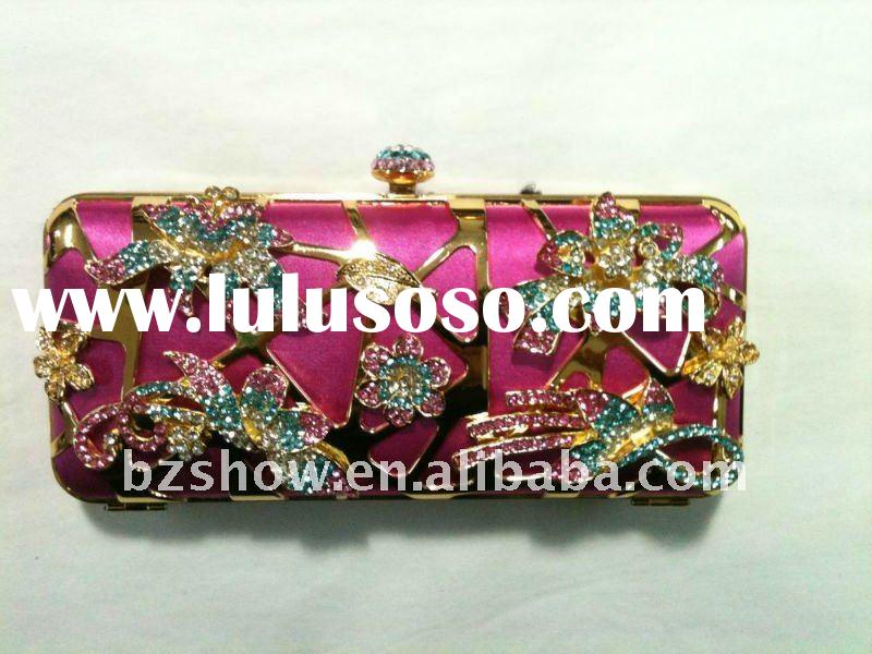 Red evening crystal clutch purse