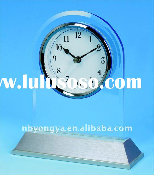 glass and metal table clock