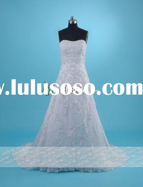 Gorgeous A-line Satin Lace Covered Chapel Train Wedding Dress-LB0785