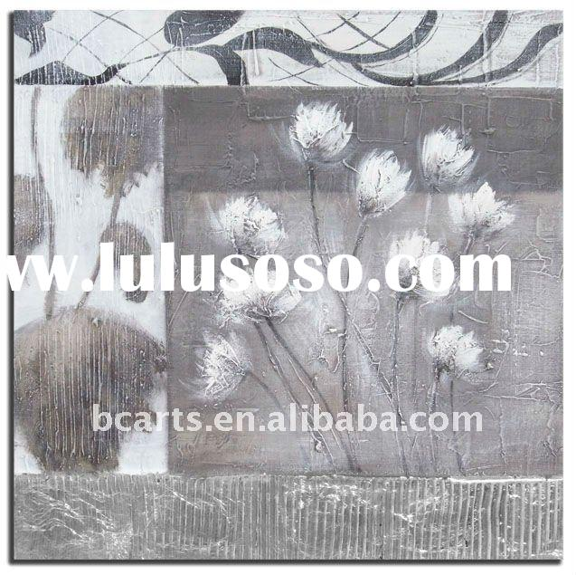 black and white modern flower painting